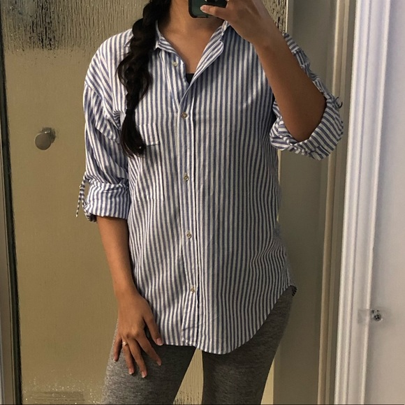 cdfaa5f8 Zara Tops | Blue Pinstripe Button Down Shirt | Poshmark